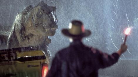 El T-Rex davant Alan Grant.