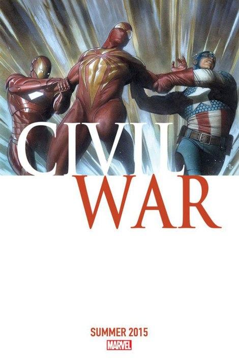 """Il·lustració de la nova publicació de """"Civil War"""", precisament amb Spider-Man diviit entre el Capità Amèrica i Iron Man."""
